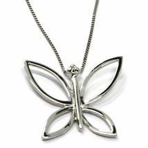 18K WHITE GOLD NECKLACE, BUTTERFLY PENDANT WITH DIAMOND AND VENETIAN CHAIN  image 3