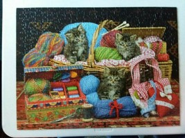 """Sunsout """"Kittens In A Basket"""" 500 Pc Puzzle - Complete - $16.95"""