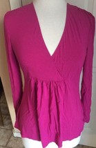 Eddie Bauer Pink Magenta Stretchy Long Sleeve Shirt Blouse Women's M - $12.86