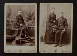 1800s antique LOT of 2pc PHOTOGRAPHS bushnell ill DR. JOE DERMOTT pierce... - $47.50