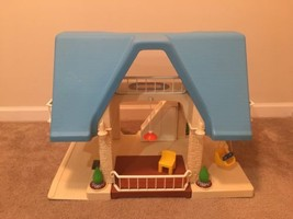 VINTAGE Little Tikes Blue Roof Dollhouse House Swing Bath Pool RARE HTF! - $74.24