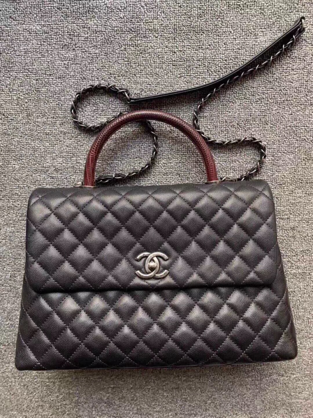 AUTHENTIC CHANEL QUILTED BLACK CAVIAR LARGE COCO PYTHON HANDLE BAG RECEIPT RHW