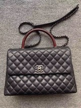 AUTHENTIC CHANEL QUILTED BLACK CAVIAR LARGE COCO PYTHON HANDLE BAG RECEIPT RHW image 3
