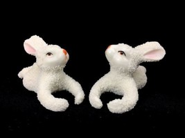 Vintage Snowbabies Rabbits Bunnies Pair Early Unmarked Pieces Japan Or G... - $37.36