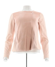 H Halston Croco Embossed Faux Suede Motorcycle Jacket Rose Blush 6 NEW A... - $68.29