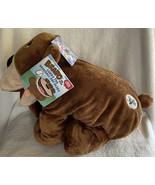Stuffies Bravo the Bear Plush Brown Animal Zipper Mouth 7 Hidden Pockets... - $22.99