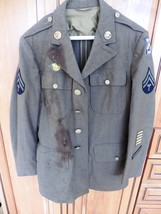 Vintage WWII 1940 Military Army Jacket Uniform Wool Green with patches 38R - $499.00