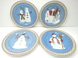 4 Debbie Mumm Sakura Variety Snowman Plate Dessert Salad Snack Blue Coun... - $29.37