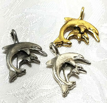 DOLPHIN AND PUP FINE PEWTER PENDANT CHARM - 20mm L x 25mm W x 3.5mm D