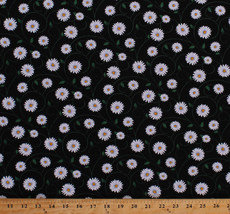 Daisies Daisy Flowers Floral Vines Black Spring Cotton Fabric Print BTY ... - $11.49