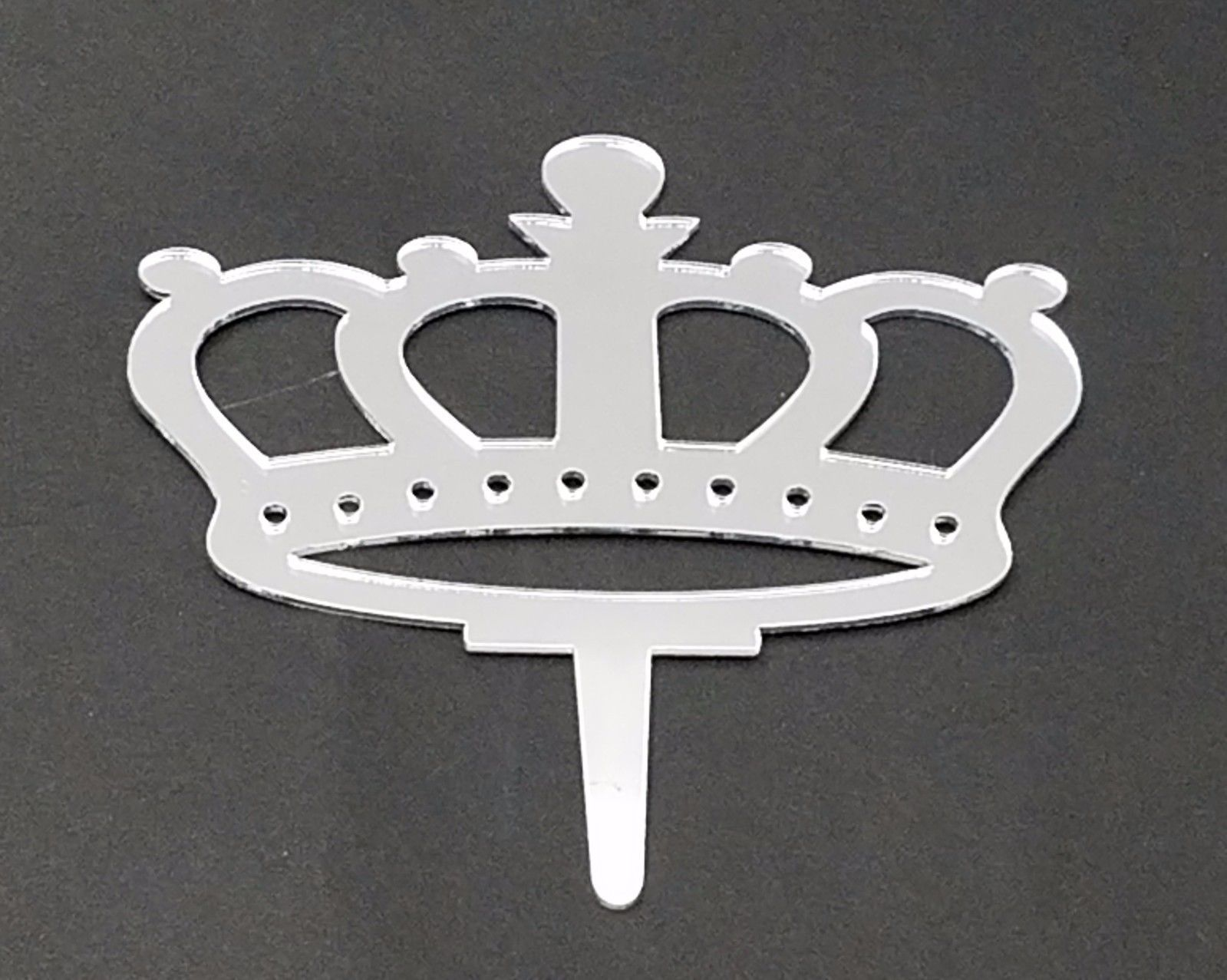 "3 royal crown signs silver mirror like acrylic 5"" x 3"" cake top pick decoration"