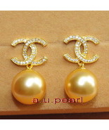 CC Top 11-12MM NATURAL real round SOUTH SEA golden yellow PEARL EARRINGS... - $832.59
