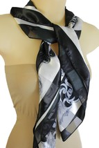 New Women Black White Big Fancy Square Soft Fabric Scarf Wrap Anchor Queen Crown - $15.67