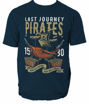 Pirate Ship mens t shirt Navy Sea Captain Tortuga Island Blue Waters S-3XL  - $14.09+