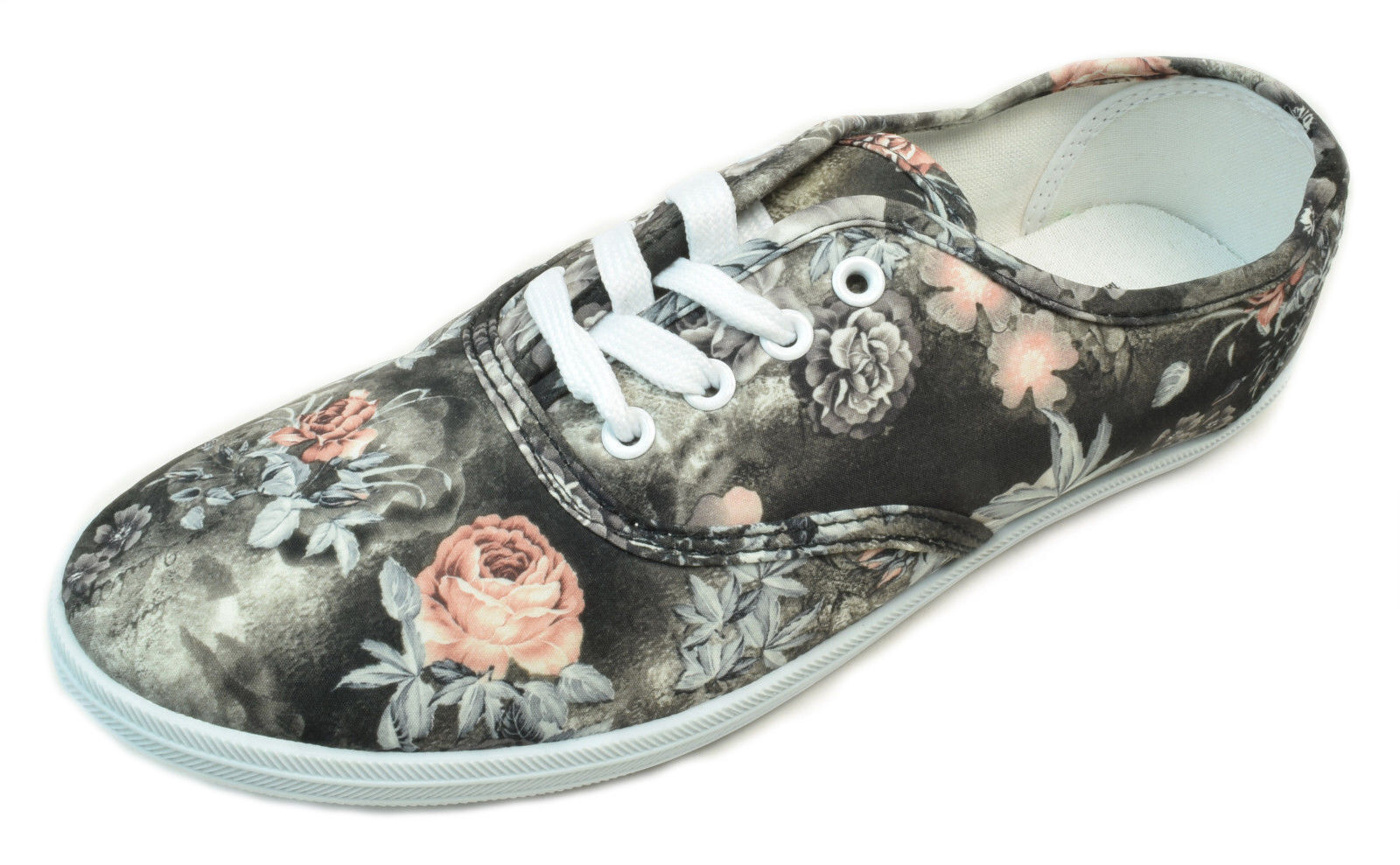 Primary image for Womens Gray Pink Floral Print Canvas Sneaker Lace Up Plimsoll Tennis Shoes