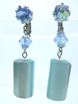 Japan Blue Prystal Moon Glow Dangle Silver Tone Clip-On Earrings Vintage - $19.79