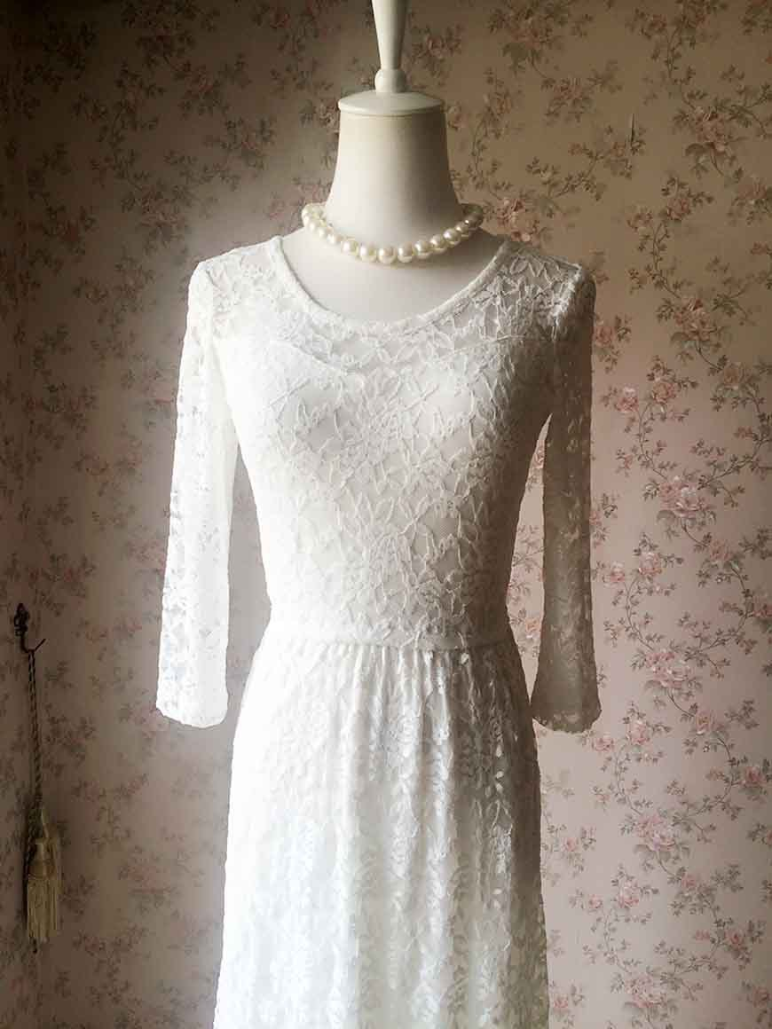 Ivory White LACE DRESS Long Lace Dress Bohemian Beach Dress Long Sleeve Wedding