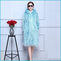 Shaggy Blue Long Hair Mongolian Sheep Faux Fur Long Length Hoded Winter Coat image 3