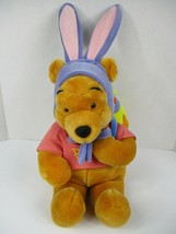 Vintage Disney Winnie the Pooh Easter Plush Bear 20 In Bunny Egg Backpac... - $21.03