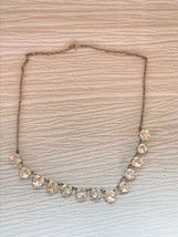 Vintage Silvertone Twist Chain with Prongset Round Faceted Clear Rhinestones Nec - $14.89