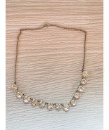 Vintage Silvertone Twist Chain with Prongset Round Faceted Clear Rhinest... - $14.89