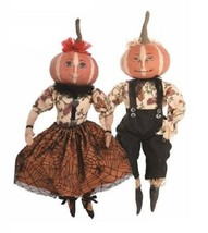 Joe Spencer Penelope and Parnell Pumpkin Head Fabric Girl and Boy Dolls New - £60.76 GBP