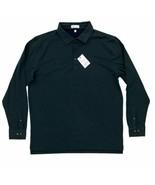 New Peter Millar Crown Fleece Long Sleeve Polo Shirt Size XL Lacinato Green - $69.99