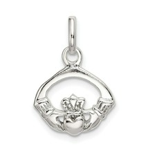 Sterling Silver 925 Polished Claddagh Charm Pendant 0.87 Inch - $13.58