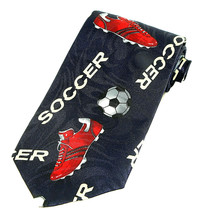 Red Soccer Shoes Men's Neck Tie Ball Player Sports Coach Gift Blue Necktie - $15.79