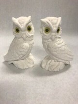 2 Vintage ceramic OWLS glass eyes matching 5 by 3 inch Ceramic white fig... - $23.75