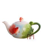 XINCI 3D Enamel Fish Lotus Coffee Tea Pot Creative Ceramic - $49.95
