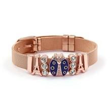 Stainless Steel Belt Mesh Bracelet Rose Charm Blue Ladybug - $20.20