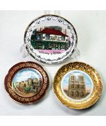 3 Miniature Souvenir Plates Notre Dame Monaco Old Curiosity Shop - $9.00