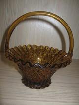 Indiana Fenton? Amber Glass Basket Candy Dish Handle Ruffle Rim Diamond ... - $19.95