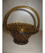 Indiana Fenton? Amber Glass Basket Candy Dish H... - $19.99