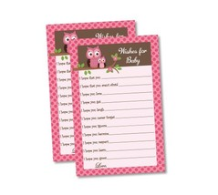 Wishes for Baby - Baby Shower Game - Pink Owl (50-sheets) - $11.14