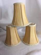 "3 Quoizel fabric chandelier candelabra lamp shade Yellow Golden 7"" 21167... - $30.03"