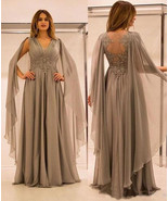 V Neck Chiffon Mother of the Bride Dresses Waist with Appliques - £129.04 GBP