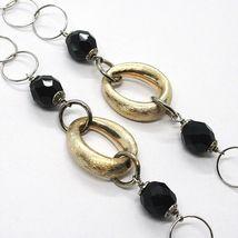 925 Silber Halskette, Ovale Satin Gelb, Nuggets Zweifarbig, Kette Rolo, 60 CM image 2