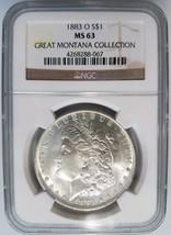 1883 O Silver Morgan Dollar NGC MS 63 Great Montana Collection Pedigree ... - $123.24