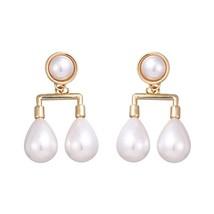 Fashion Elegant Imitation Pearls Dangle Drop Earrings Copper Baroque Earrings fo - $9.35