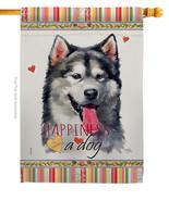 Alaskan Malamute Happiness - Impressions Decorative House Flag H110142-BO - $40.97
