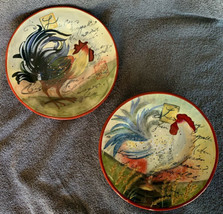 "Certified International Susan Winget Le Rooster Salad Plates Orange Brown 8.5"" - $24.99"
