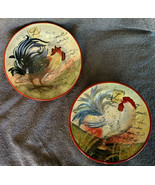Certified International Susan Winget Le Rooster Salad Plates Orange Brow... - $24.99