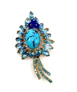 Juliana Blue Turquoise Matrix Brooch with Glass Flowers and Rhinestones - $123.75