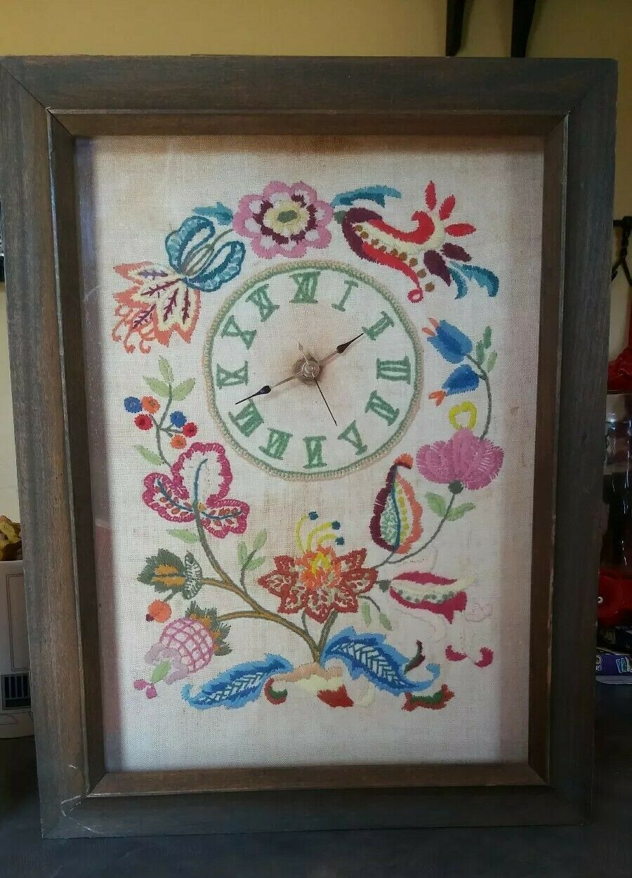 "Primary image for 1966 Vintage Framed Hand Embroidered Clock 17"" x 13"" Floral"