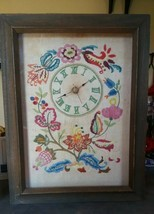 "1966 Vintage Framed Hand Embroidered Clock 17"" x 13"" Floral - £13.88 GBP"