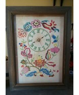 "1966 Vintage Framed Hand Embroidered Clock 17"" x 13"" Floral - $18.00"