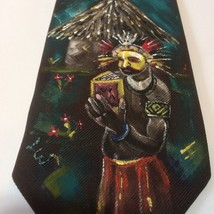 Vintage Wembly Handpainted Mens Necktie Polyester Jungle Village Rich Co... - $39.59