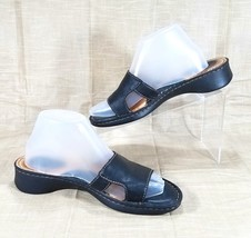 Born Handcrafted Leather Slide Sandals with Cut Outs Womens Size 8 Black W3366 - $26.60